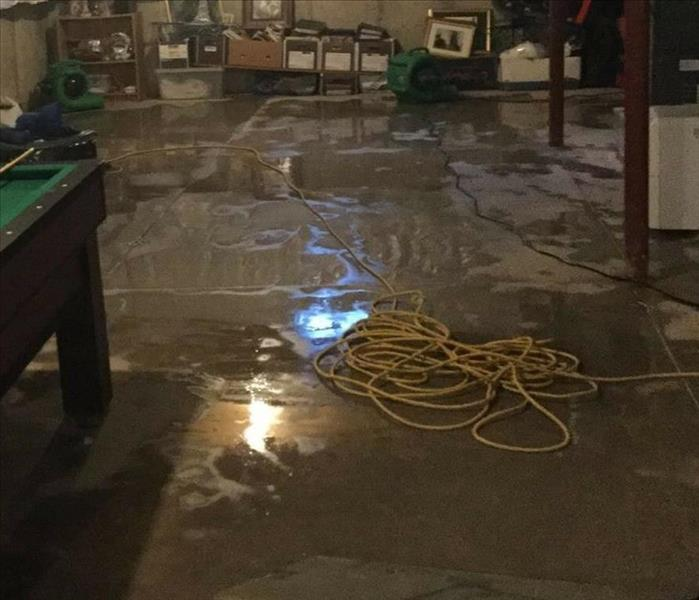 Water Damage Cleanup in Basement of Kentucky Home Before